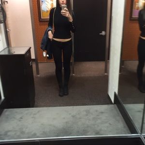 Topshop black fitted turtleneck with rose gold